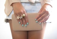 Mint green nails for spring/summer  just did my nails in this color...now I need a tan...
