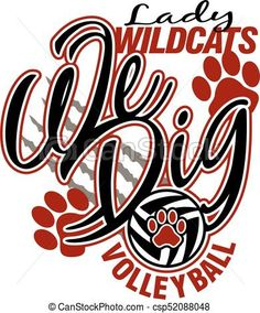 Vector - lady wildcats volleyball - stock illustration, royalty free illustrations, stock clip art icon, stock clipart icons, logo, line art, EPS picture, pictures, graphic, graphics, drawing, drawings, vector image, artwork, EPS vector art