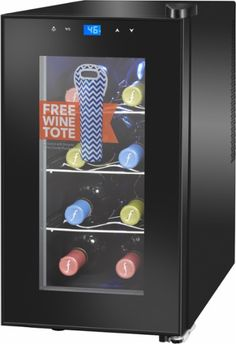 Insignia™ - 8-Bottle Wine Cooler with Wine Tote - Black - Front Zoom