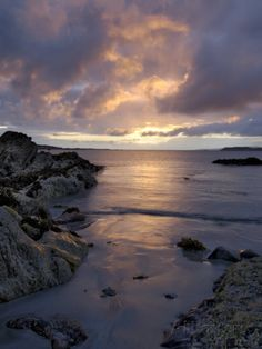 Beach at Sunset, Near Tully Cross, Connemara, County Galway, Connacht, Republic of Ireland Photographic Print by Gary Cook at AllPosters.com