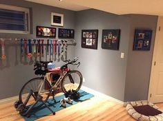 Home bike trainer / spinning space ideas.
