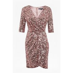 Lunar Sparkle Sequin Wrap Dress ($240) ❤ liked on Polyvore featuring dresses, 3/4 sleeve dress, 3/4 sleeve wrap dress, form fitting dresses, french connection cocktail dresses and sequin cocktail dresses