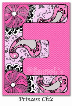Monogram Letter E Original Giclee Print of Pen and Ink by Swurrl, $4.00