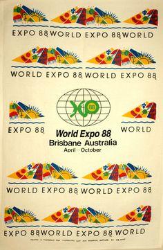 World Expo 88 Brisbane Australia Tea Towel - Vintage Retro Memorabilia Souvenirs 1988 by FunkyKoala on Etsy