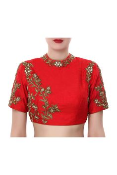 Red blouse featuring in raw silk.  Enhanced in embroidered collar in zardosi work.  It has a back opening.  Slight variation in color is possible.   95% of our customers believe that the product is as shown on the website.
