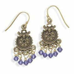 Antique Gold Plate Tanzanite Crystal Bead Fashion Earrings Wildfire Fashion. $12.66. Antique finish gold plate. Lead free and nickel free. Tanzanite crystal drops
