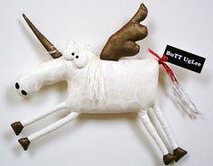 Unicorn named MerCurY ...WaLL ArT ... gold wings with white polka dot body ... fantasy