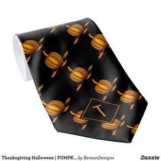 Thanksgiving Halloween | PUMPKIN | Monogram Neck Tie Fall Home Decor, Autumn Home, Autumn Fall, Holiday Cards, Christmas Cards, Custom Ties, Unique Image, Christmas Card Holders, Halloween Pumpkins