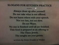buddhist cooking kitchen advice wisdom buddhism karme choling marpa house boulder