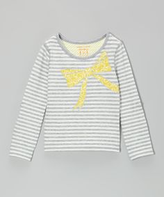 Heather Gray & White Stripe Bow Shirt for Toddler & Girls.