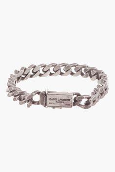 Saint Laurent Antiqued Silver Curb Chain Gormette Bracelet for men   SSENSE