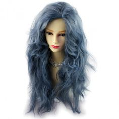 Wiwigs - Romantic SEXY Wild Untamed Long Curly Wig Gray Blue Ladies Wigs from WIWIGS UK