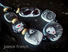 jasmin french ' winter brides ' lampwork focal beads set glass art
