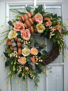 Spring Easter Spray MacKenzie Childs Ribbon Roses Floral Decor Door Wreath by bahama mamma