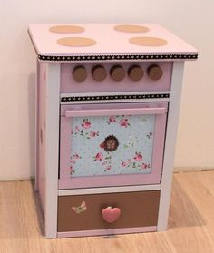 Kinderherd Kinderküche rosa braun weiss Shabby von Domis Pusteblume auf DaWanda.com