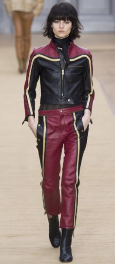 Shop now. Chloé Panelled Leather Biker Jacket & trouser. French label Chloé's cool panelled biker jacket and trouser is a versatile alternative to traditional black and inspired by one of creative director Clare Waight Keller's muses for fall, 1970s journalist and solo motorcycle adventurer Anne-France Dautheville.