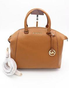 6107bbaa9aac23 NWT MICHAEL Michael Kors Riley Brown Leather Large Satchel Crossbody Bag  $368 #MichaelKors #Satchel