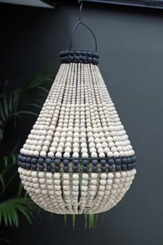 Lourmarin Beaded Chandelier – White – Shades – Lighting - All For Decoration Wood Bead Chandelier, Outdoor Chandelier, White Chandelier, White Light Shades, Light Fittings, Light Decorations, Lamp Light, Floor Lamp, Ceiling Lights