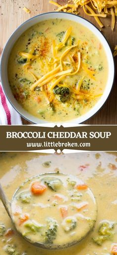 The easiest bowl of comfort food! This lightened up broccoli cheddar soup is made with olive oil and milk instead of butter and cream. It's loaded with wholesome broccoli and freshly grated cheddar cheese. Healthy Broccoli Cheese Soup, Veggie Soup Recipes, Cheddar Cheese Soup, Broccoli Cheddar, Healthy Soup Recipes, Healthy Cooking, Real Food Recipes, Vegetarian Recipes, Cooking Recipes