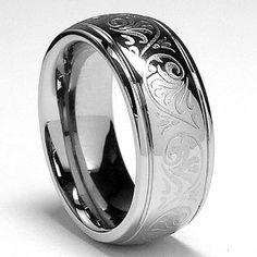 7MM Stainless Steel Ring With Engraved Florentine Design Size 4