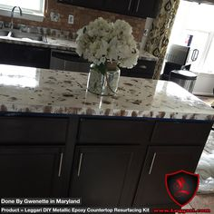 Here's another #picture we received from a customer who installed our #diy #metallic #epoxy #countertop #resurfacing #kit by herself!  #maryland #kitchendesign #kitchencountertops #kitchenremodel made easy with #leggariproducts #metallicepoxy #coatings
