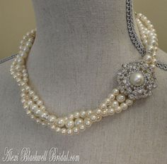 Wedding Jewelry Brooch Necklace and Earrings in Ivory Twisted Design by AlexiBlackwellBridal, $79.00