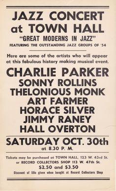 Charlie Parker, Thelonious Monk, Sonny Rollins – Ultra Rare 1954 New York Bebop Concert Poster