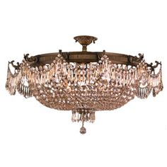 Buy the Worldwide Lighting Antique Bronze / Clear Crystal Direct. Shop for the Worldwide Lighting Antique Bronze / Clear Crystal Winchester 12 Light Wide Semi Flush Ceiling Fixture with Crystal Accents and save. Clear Crystal, Crystal Beads, Crystals, Flush Mount Lighting, Flush Mount Ceiling, Winchester, Ceiling Fixtures, Ceiling Lights, Basket Style