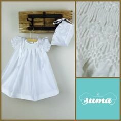 White Christening Gown with Bonnet SHANTUNG FABRIC by SUMACLOTHING