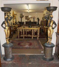 Pair Venetian Bronze Blackamoor Figurines Statues Moors Architectural Antiques Milo