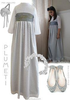 Misnis vestido de plumeti con forro gris