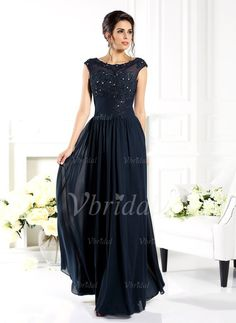 Mother of the Bride Dresses - $177.39 - A-Line/Princess Scoop Neck Floor-Length Chiffon Tulle Mother of the Bride Dress With Beading Appliques Lace (0085093520)
