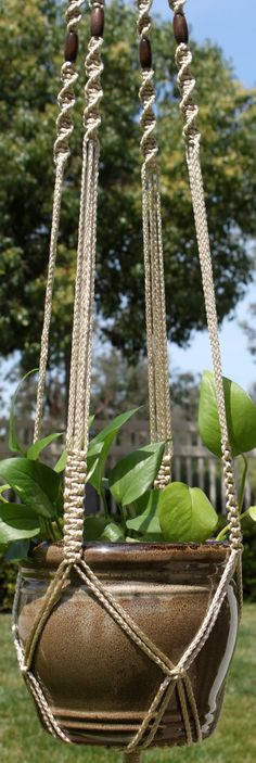 CROWNE ROYALE #Handmade #Macrame Plant Hanger in PEARL by #ChironCreations @Etsy http://etsy.me/1FGNBmW #garden #home #decor #indie #boho