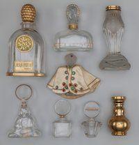 Eight Various Glass Perfume Bottles Circa 1925-1940. Baccarat for Houbigant Subtilite Buddha, Hatti