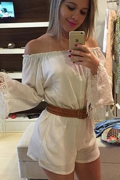 213a2cd9da73 White Long-sleeve Belted Romper MB60147 White Jumpsuit
