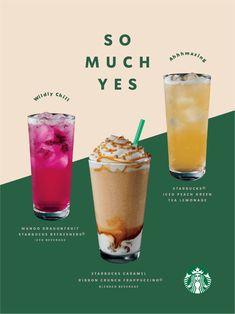 Voice | Starbucks Creative Expression Food Graphic Design, Food Menu Design, Food Poster Design, Peach Green Tea Lemonade, Vegan Food Truck, Starbucks Caramel, Coffee Menu, Drink Menu, Bubble Tea