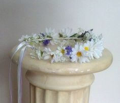 Wedding Bridal flower crown with faux, but realistic white daisies, bit of green leaves, touches of lavender blooms and mixed ribbons that is wonderful for boho halo headpiece, bride hair flowers or even everyday fashion! Made to order, please allow 2 weeks. Beautiful floral crown for winter, or any season, spring summer, with white silk daisies and lavender accents. Perfect wedding hair accessories flower garland bride hair wreath. You may choose any color ribbons you need, even just white…