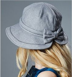 Fashion bowknot bucket hat for winter womens wool hat
