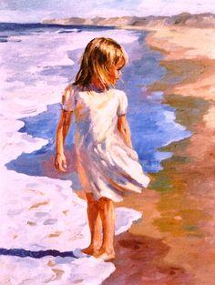 Contemporary Painting - Beach Girl (Original Art from Michael Hallinan Studio)