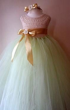 Mint Ivory Flower girl dress tutu dress by MimozaLuxuryHandKnit