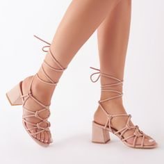 85455ca3764 Freya Knotted Strappy Block Heeled Sandals in Blush Nude Faux Suede. Block  KlackarKnopar
