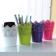 Colorful 7*12.5cm Metal Iron Flower Pot Artificial Flower Basket Desk Tub For Home Garden Decor  P0.2
