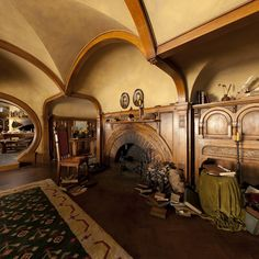 Hobbit houses seem to have mostly Arts and Crafts style, quite inspired by William Morris