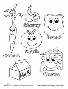 food worksheets preschool | Kindergarten Life Learning Worksheets: Healthy Food Coloring Page