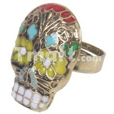 Alternative Alloy Unique Retro Skull Style Ring Multi-color Diameter 18mm