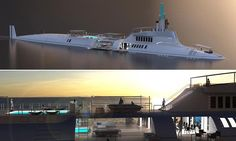 Designers build latest toy for the super-rich: the 115m submarine yacht with helipad and a swimming pool that moves below deck when submerged