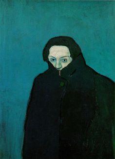 gifmovie:    Pablo Picasso - Unsure Self Portrait with Cloak (1901)