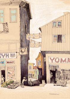 Streets of old Trabzon. by Tatyana Popovichenko, via Behance
