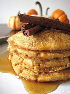 Pumpkin Spice Latte Pancakes (or just pumpkin spice pancakes if you take out the coffee). Thanksgiving breakfast?!