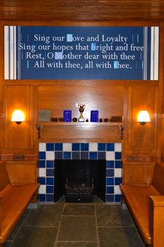 1/7/13 -- Lyrics above Fireplace in Hintz Alumni Center